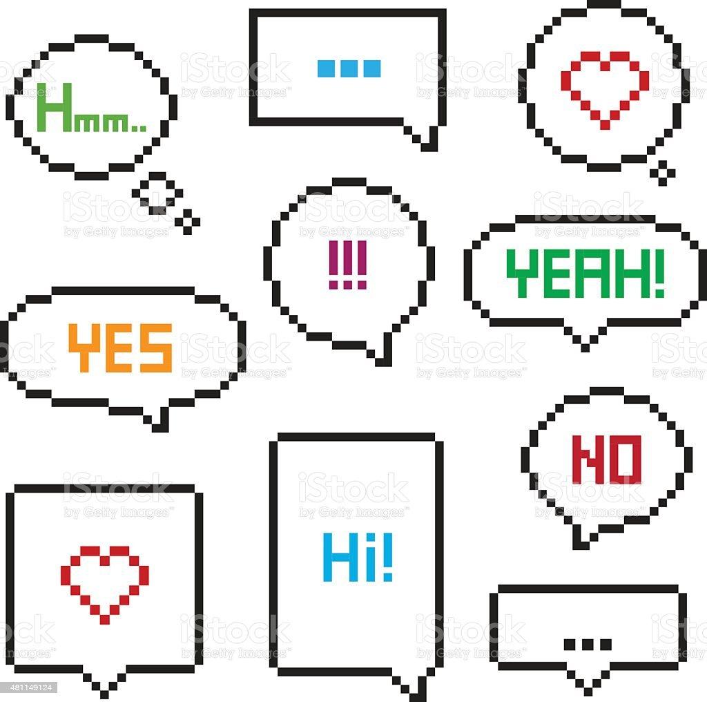Pixel art 8-bit speech bubble set vector art illustration