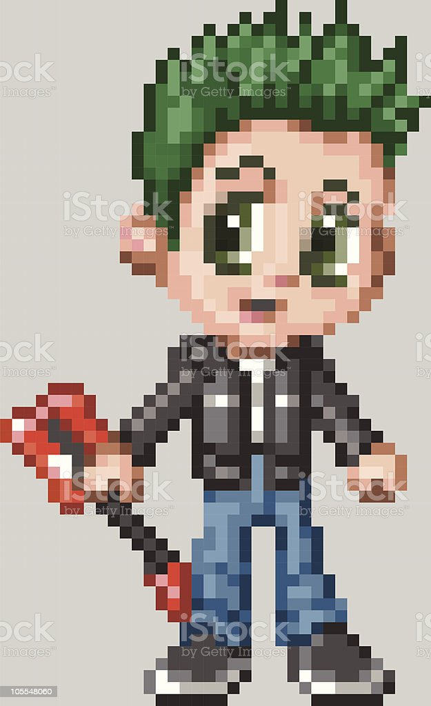 Pixel Art Anime Punk Rocker Boy royalty-free stock vector art