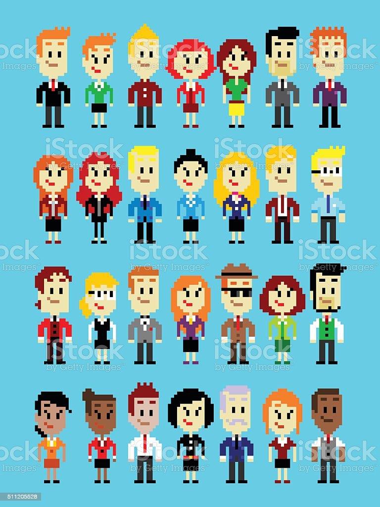 Pixel Art Business Man and Woman vector art illustration