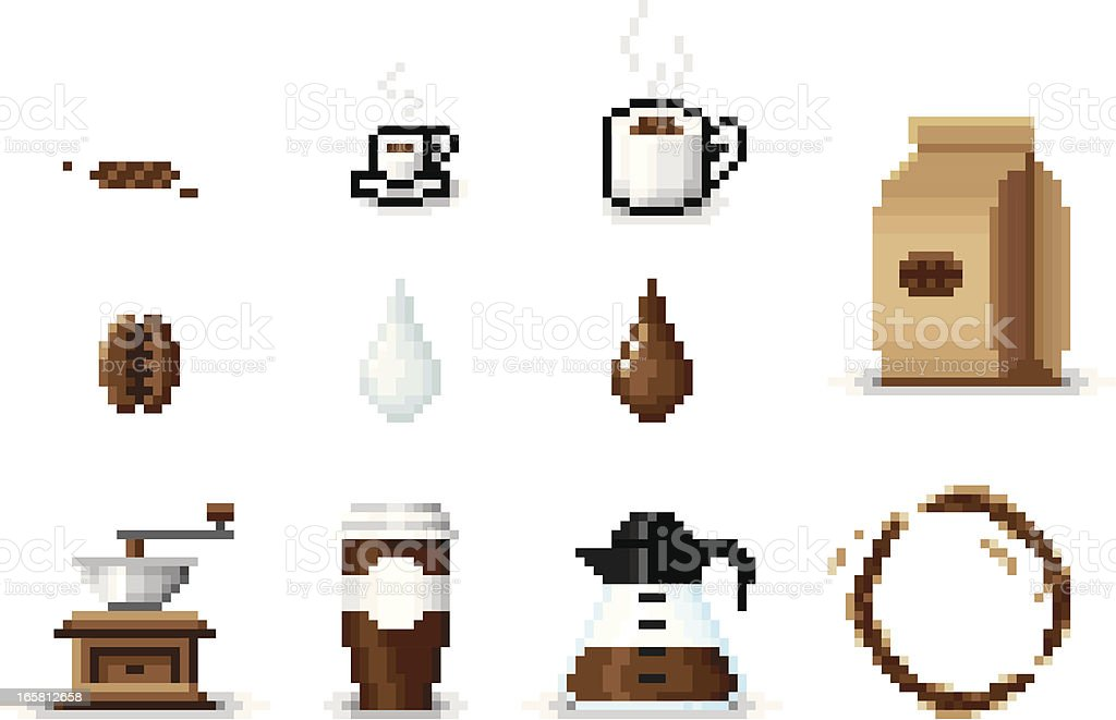 Pixel Art Coffee Icons vector art illustration