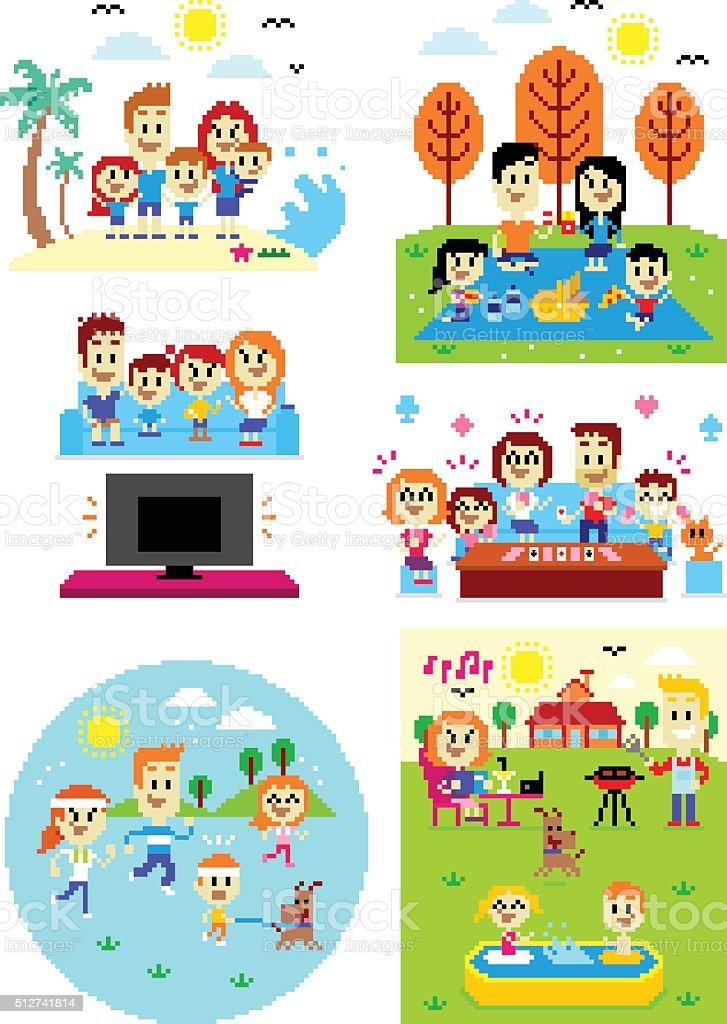 Pixel Art Happy Family Time vector art illustration