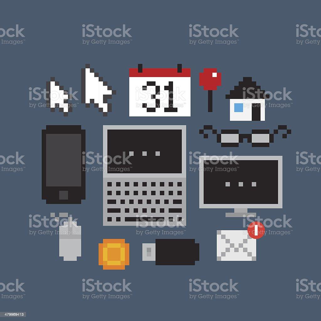 Pixel Art Icons vector art illustration