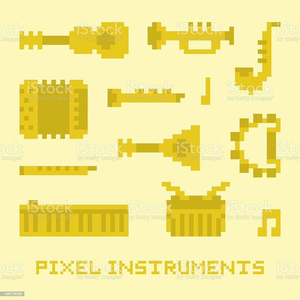 Pixel art music instruments isolated vector vector art illustration