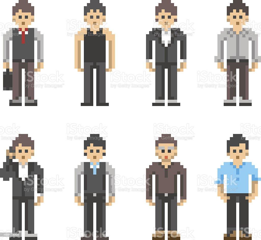 Pixel Art People - Business Man vector art illustration