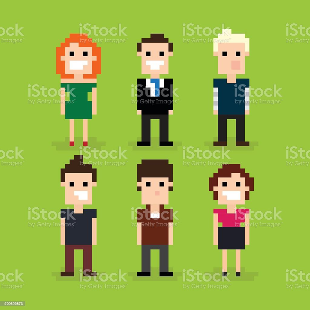 Set of different pixel people, vector illustration