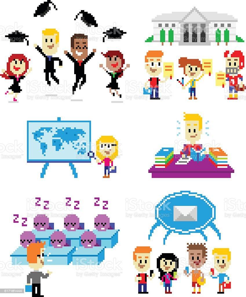 Pixel Art School vector art illustration