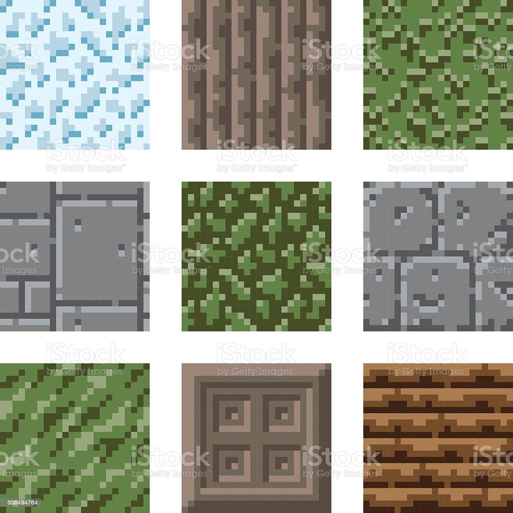 Pixel Art Seamless Gaming Terrain Tiles vector art illustration