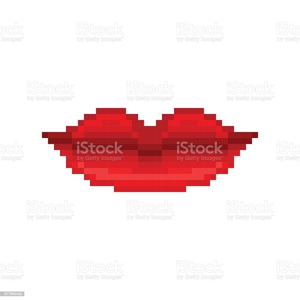 Pixel art smiling woman lips with red lipstick vector art illustration