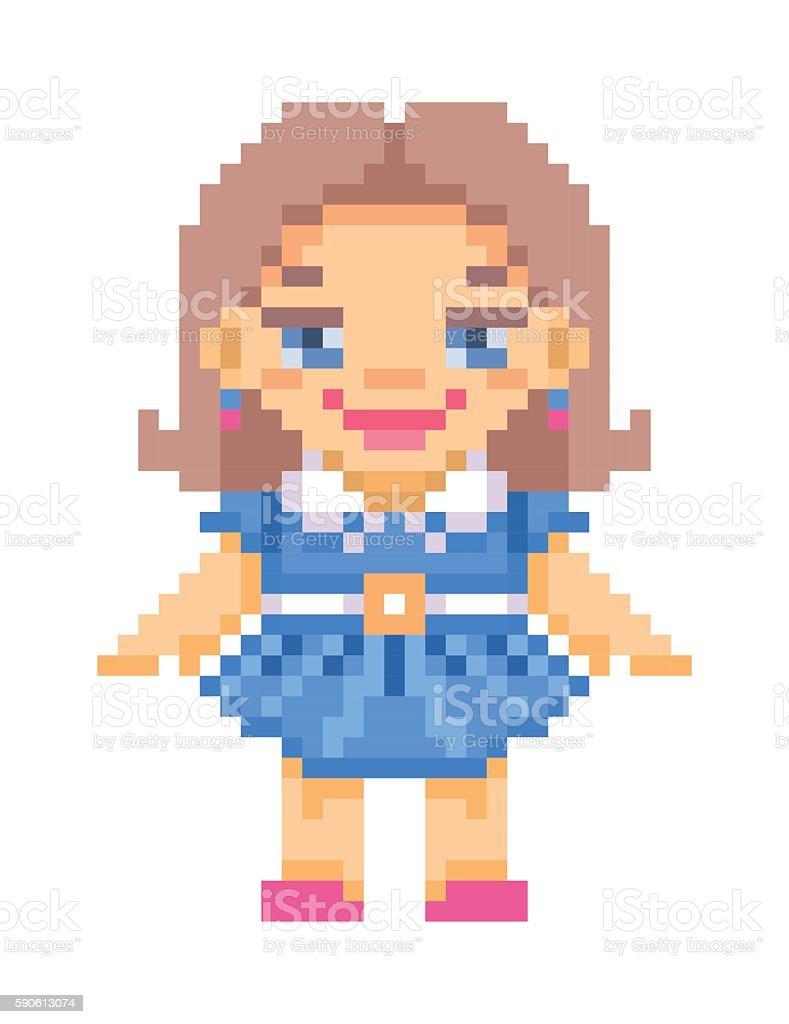 Pixel art standing doll in blue dress icon vector art illustration