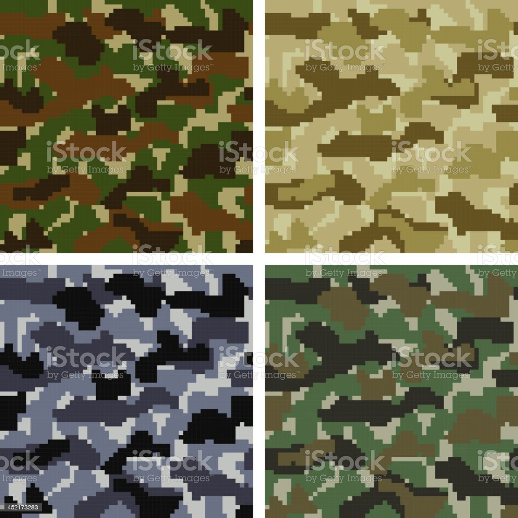 Pixel Camouflage Patterns royalty-free stock vector art