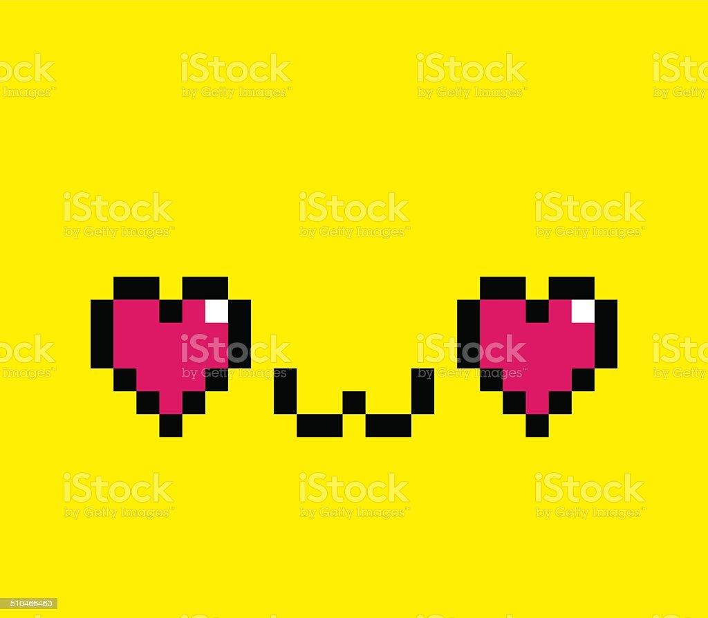 Pixel Cartoon In Love Face Isolated Stock Vector Art
