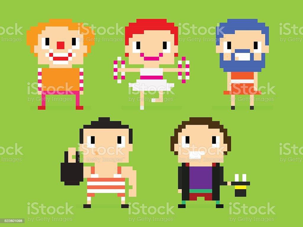 Pixel Circus vector art illustration
