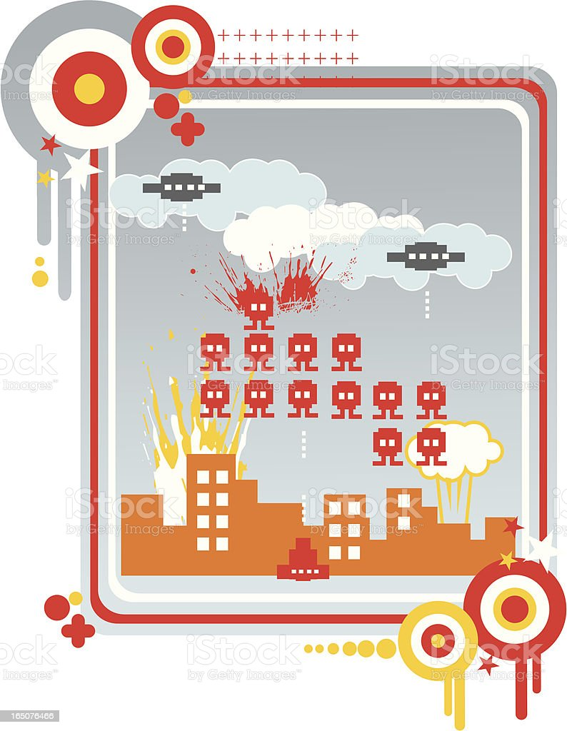 pixel city under siege vector art illustration