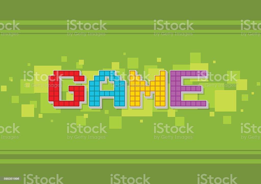 Pixel computer color game text screen vector art illustration
