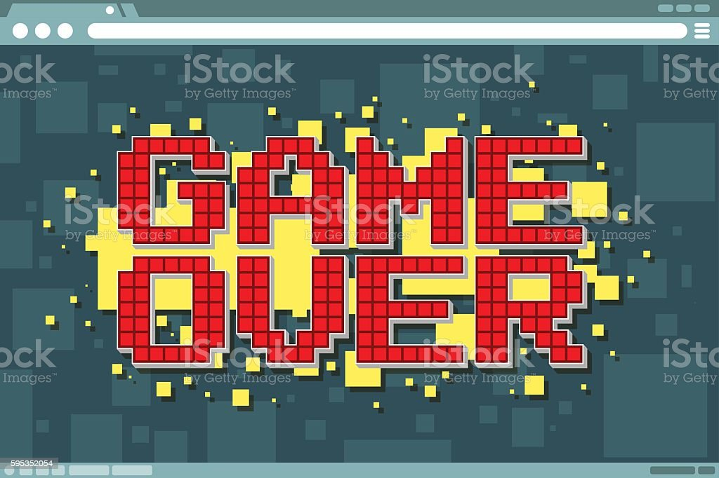 Pixel computer game over screen on display vector art illustration
