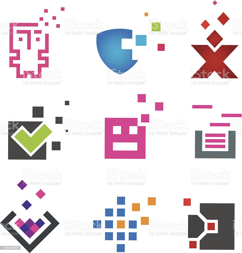 Pixel computer programming and internet protection template vector art illustration