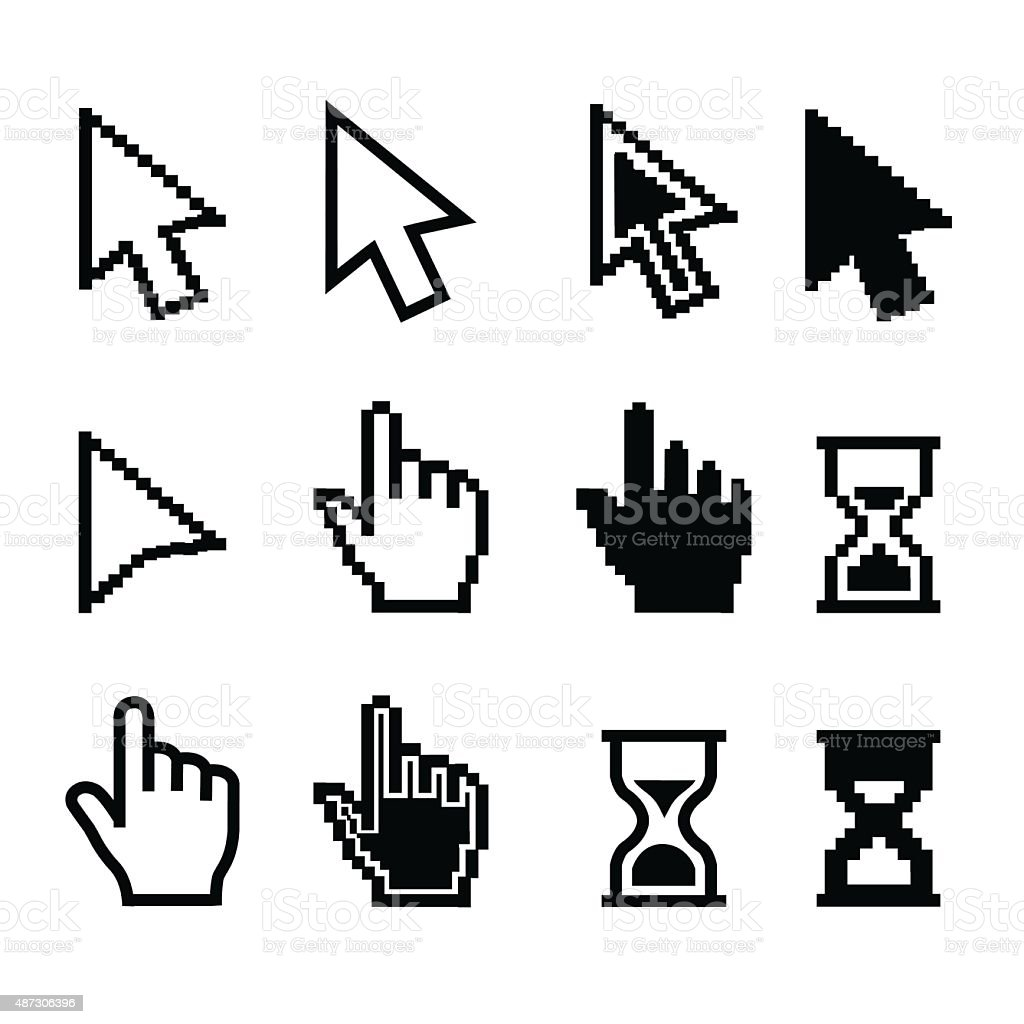 Pixel cursors icons - mouse cursor hand pointer hourglass - Illustration vector art illustration