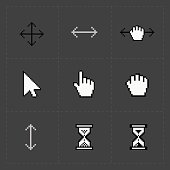 Pixel cursors icons on black.Vector Illustration.