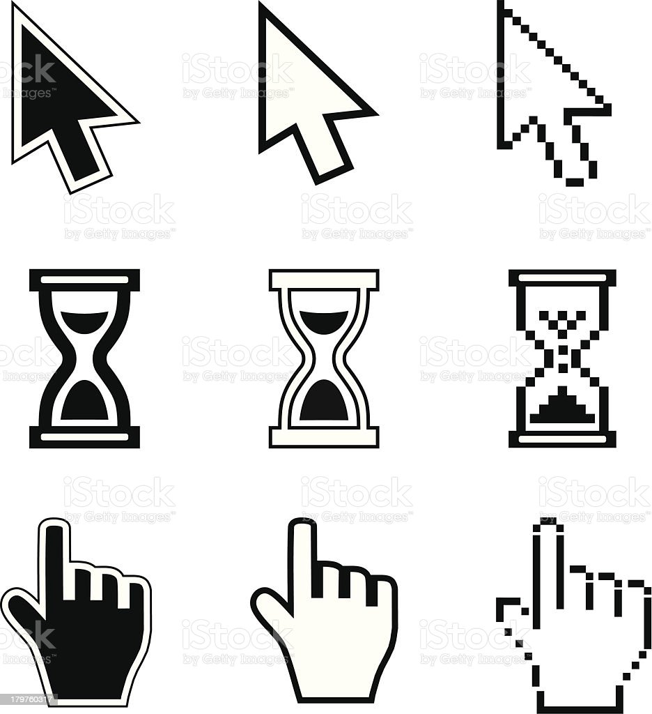 Pixel cursors icons-arrow, hourglass, hand mouse vector art illustration