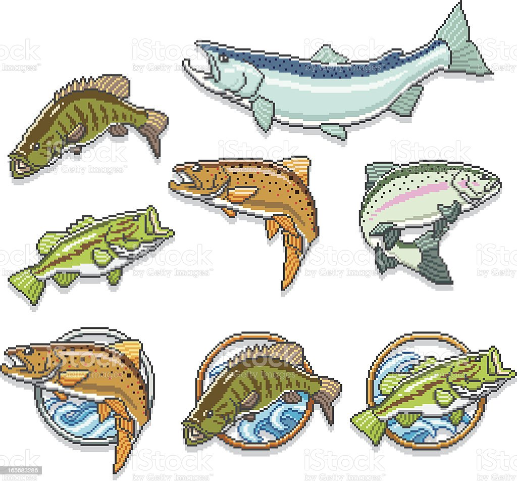 Pixel Fish Set vector art illustration