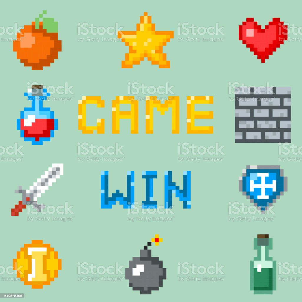 Pixel games icons for web, app or video game interface vector art illustration