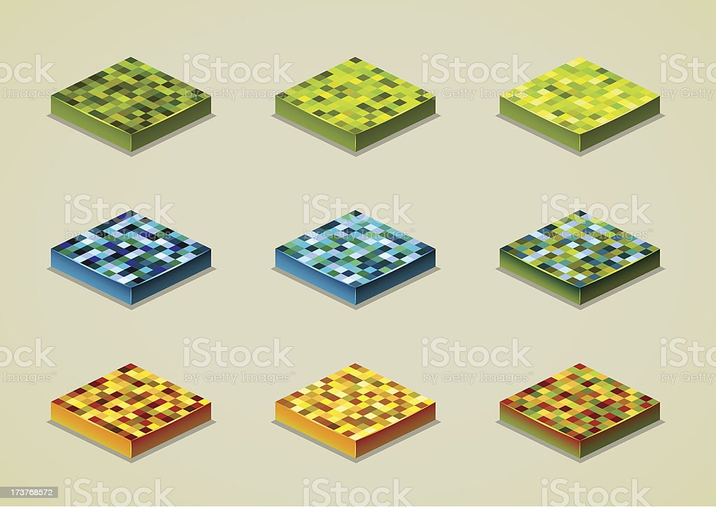 pixel grounds set royalty-free stock vector art