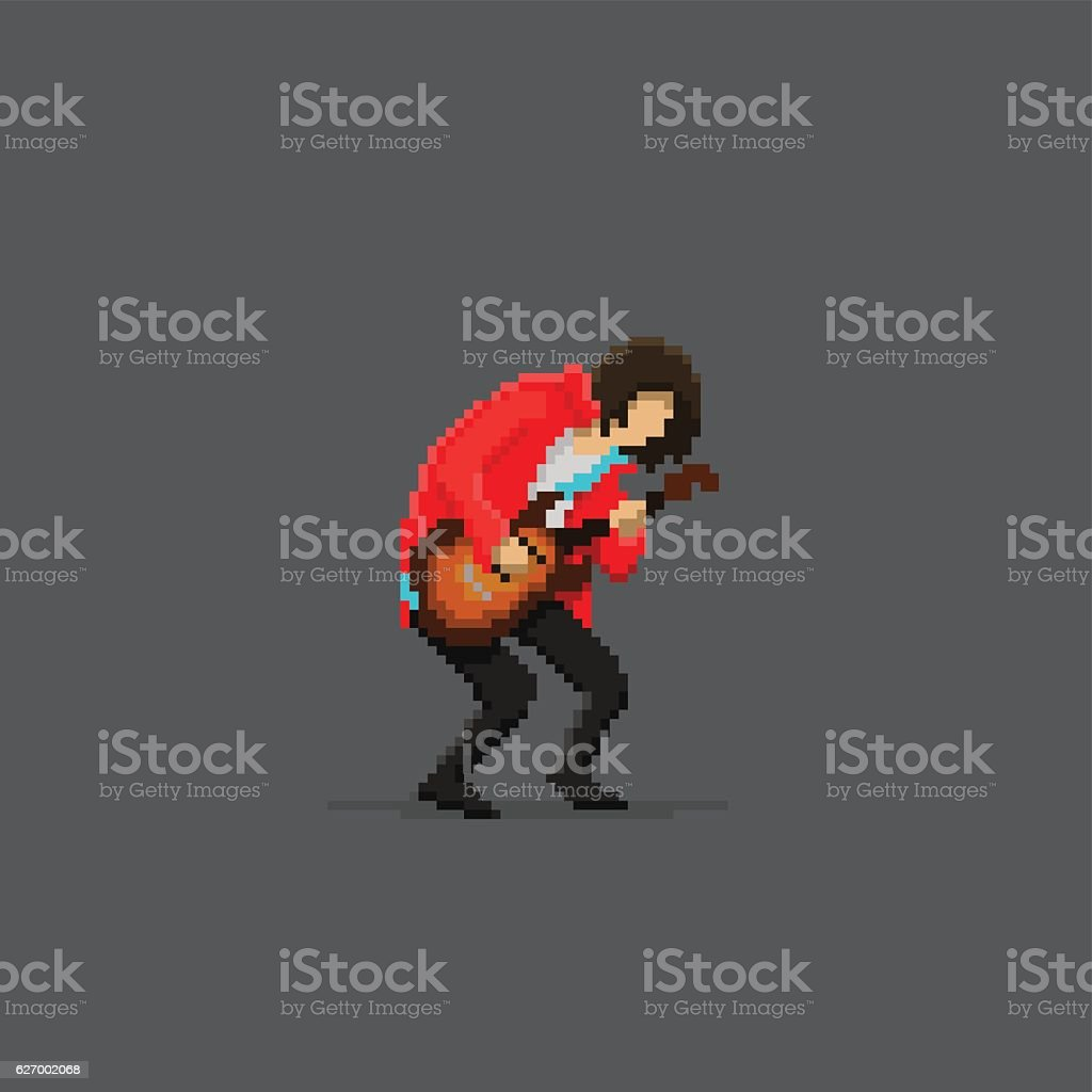 Pixel Guitar Player vector art illustration