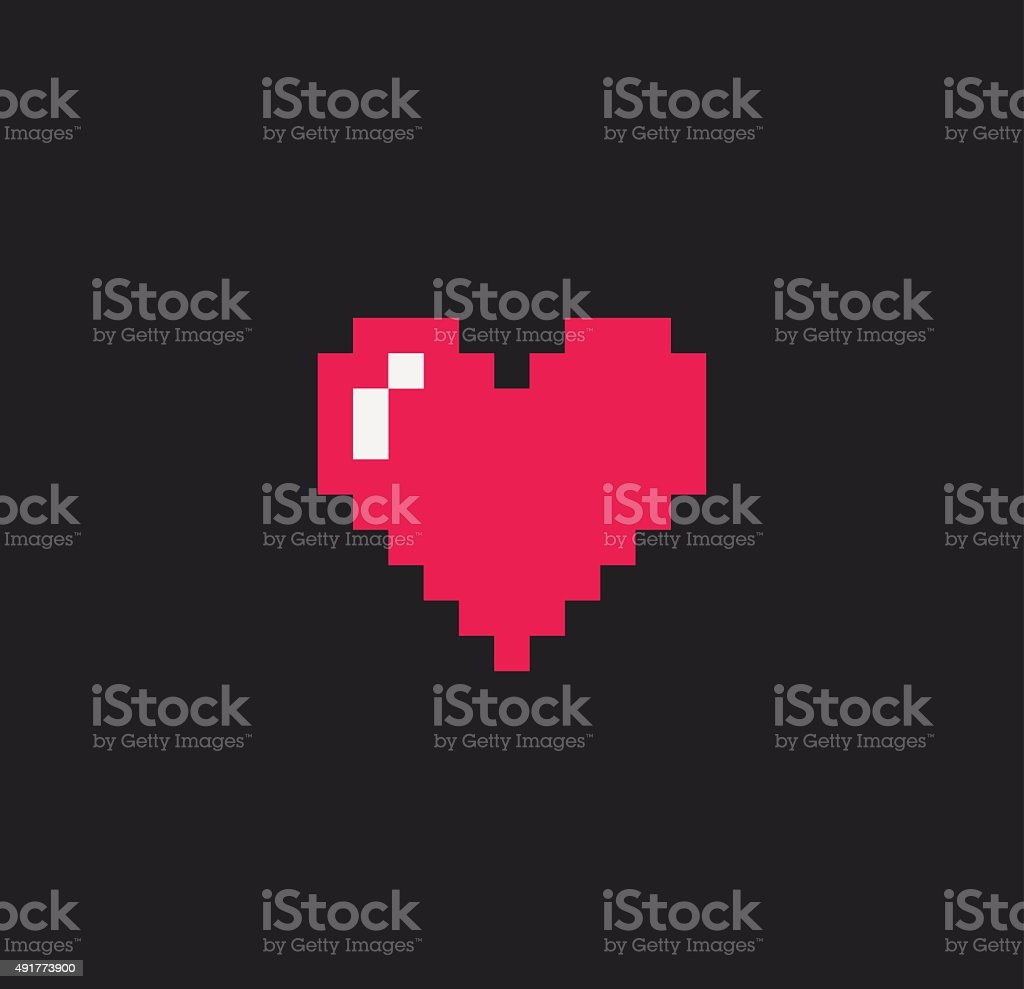 Pixel Heart vector art illustration