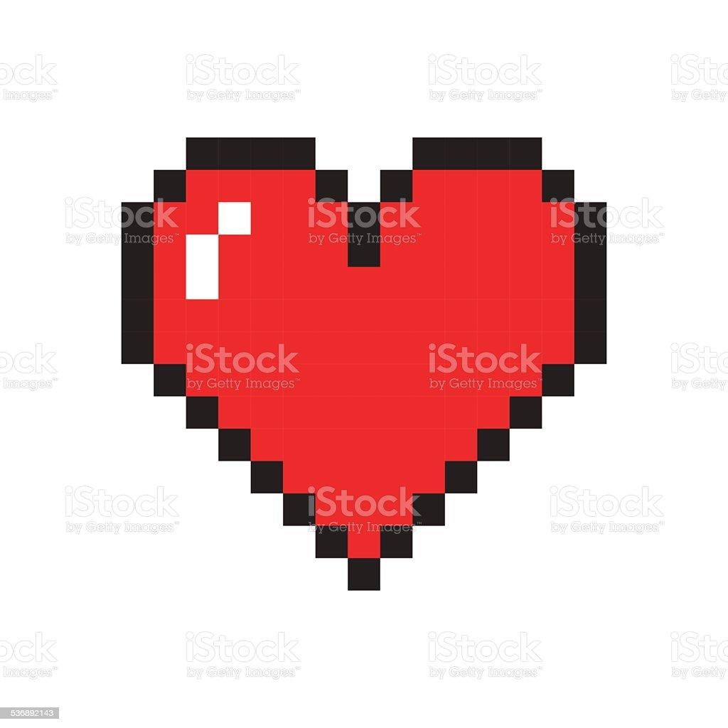 Pixel Heart vector art illustration