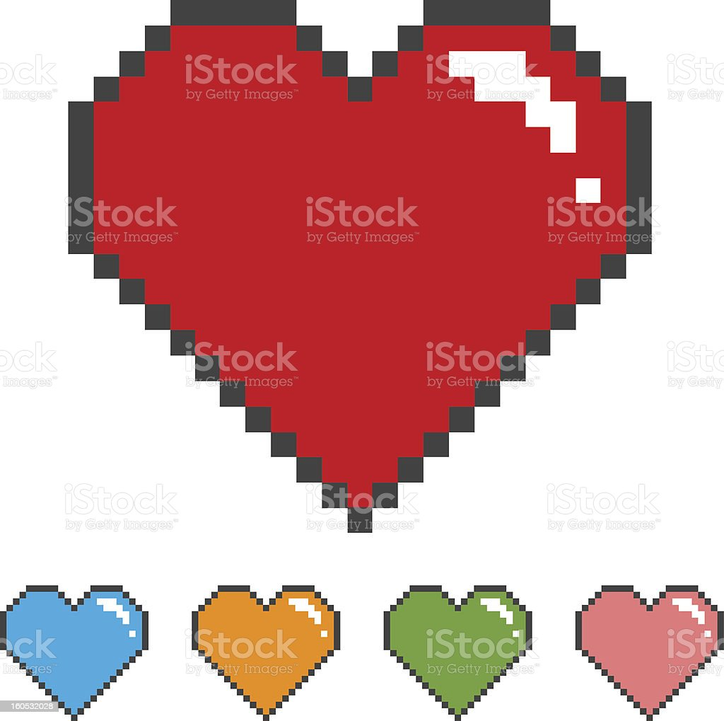 pixel heart with color versions royalty-free stock vector art