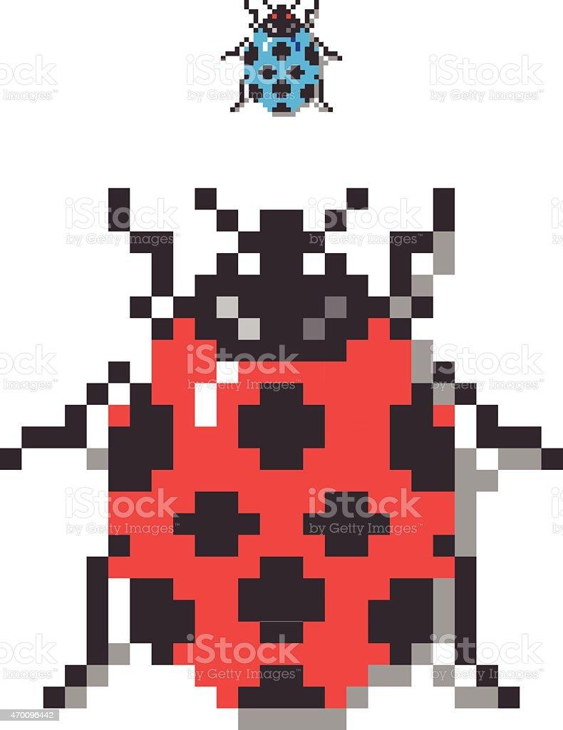 Pixel Lady Bug vector art illustration