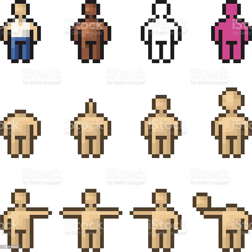 Pixel man, vector - dressed, naked, caucasian and black royalty-free stock vector art