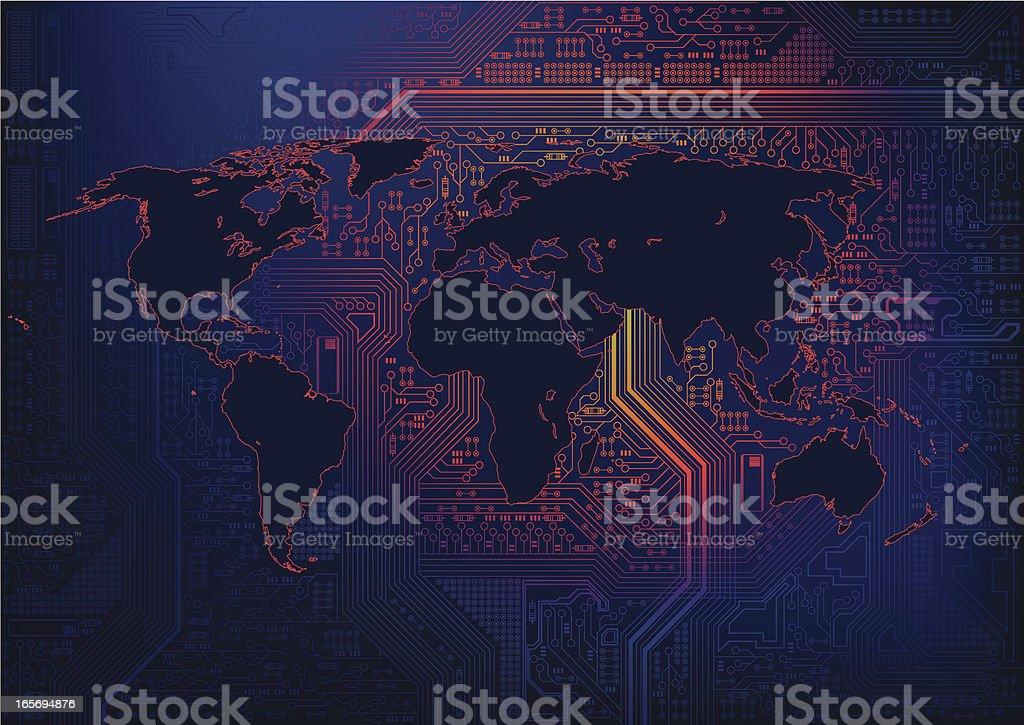 Pixel Mother board World vector art illustration