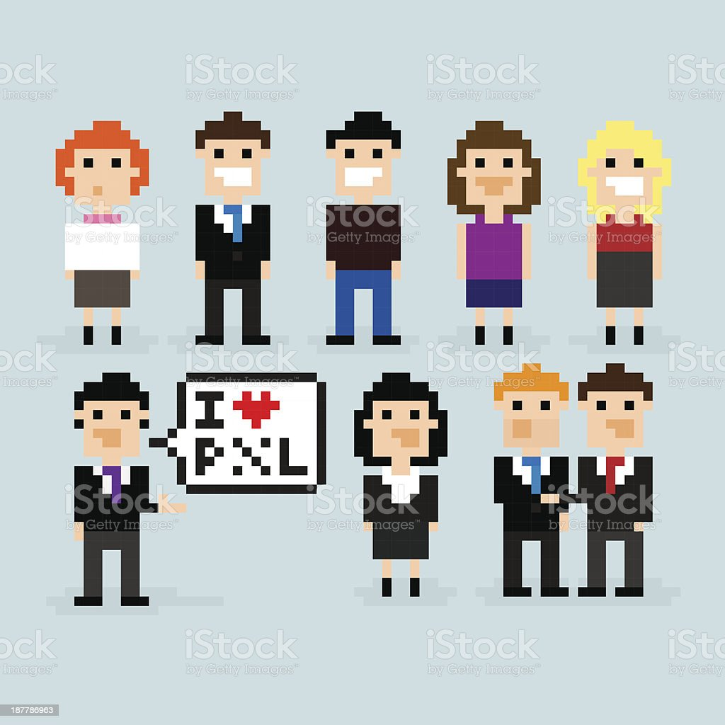 Pixel Office vector art illustration