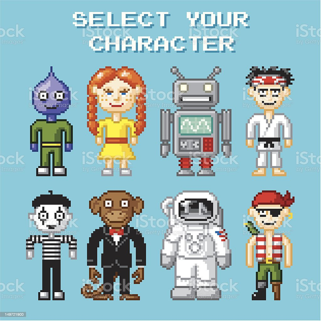 Pixel Pals vector art illustration
