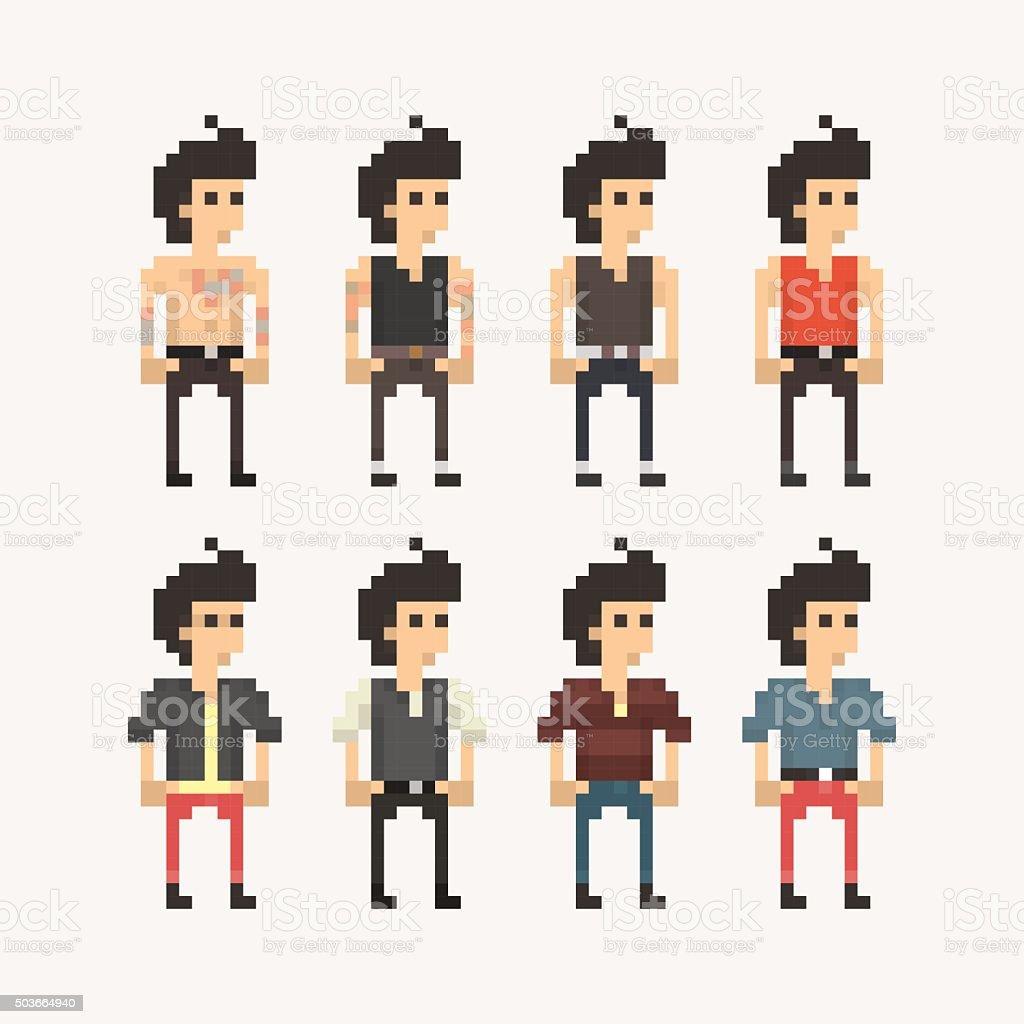 Pixel People - Boys vector art illustration