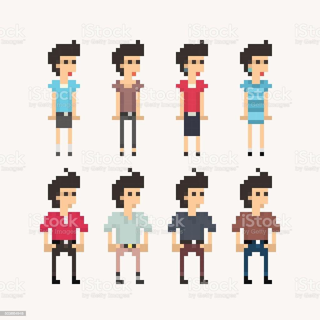 Pixel People - Girls and Boys vector art illustration