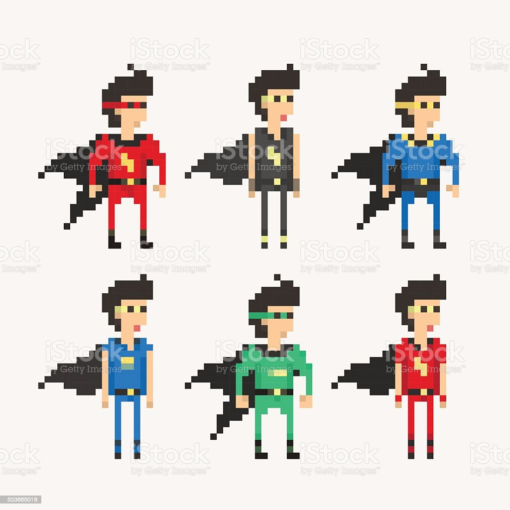 Pixel People - Superhero Cloak vector art illustration