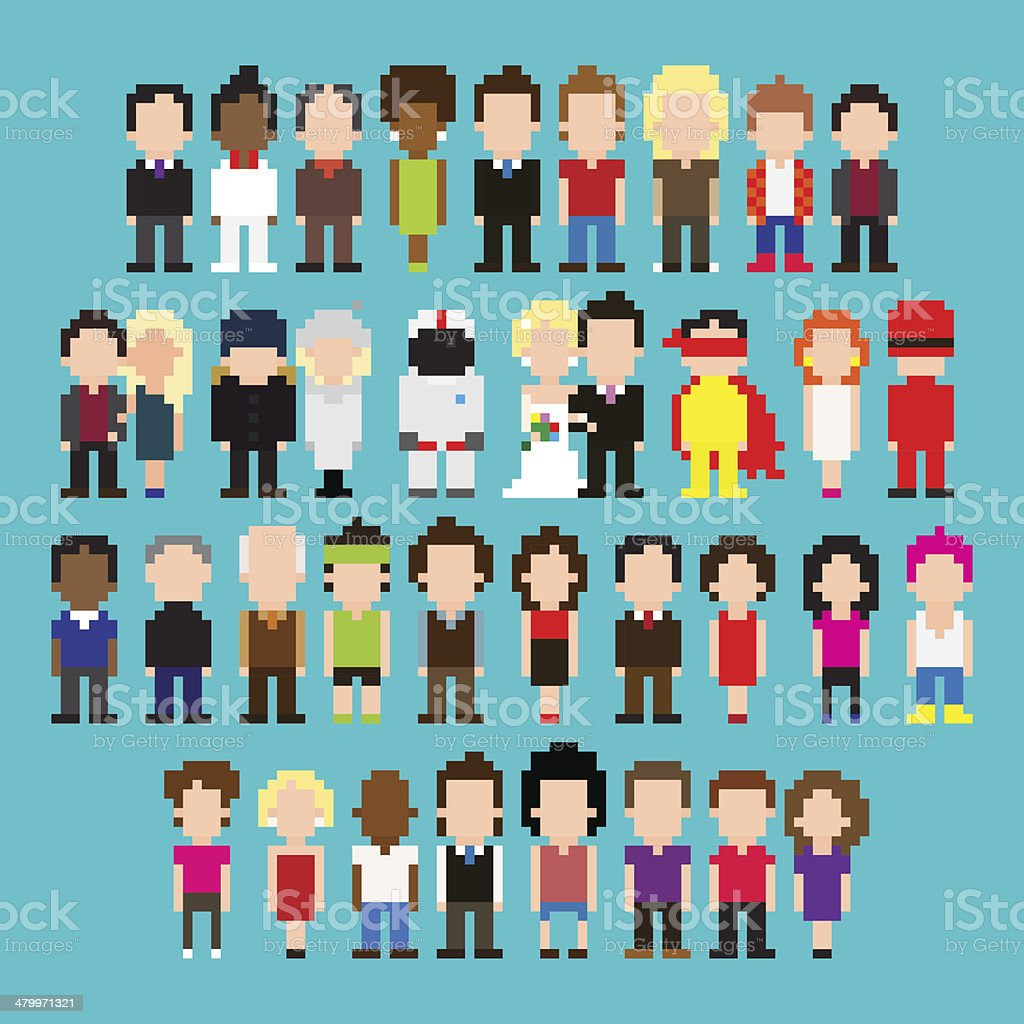 Pixel People vector art illustration