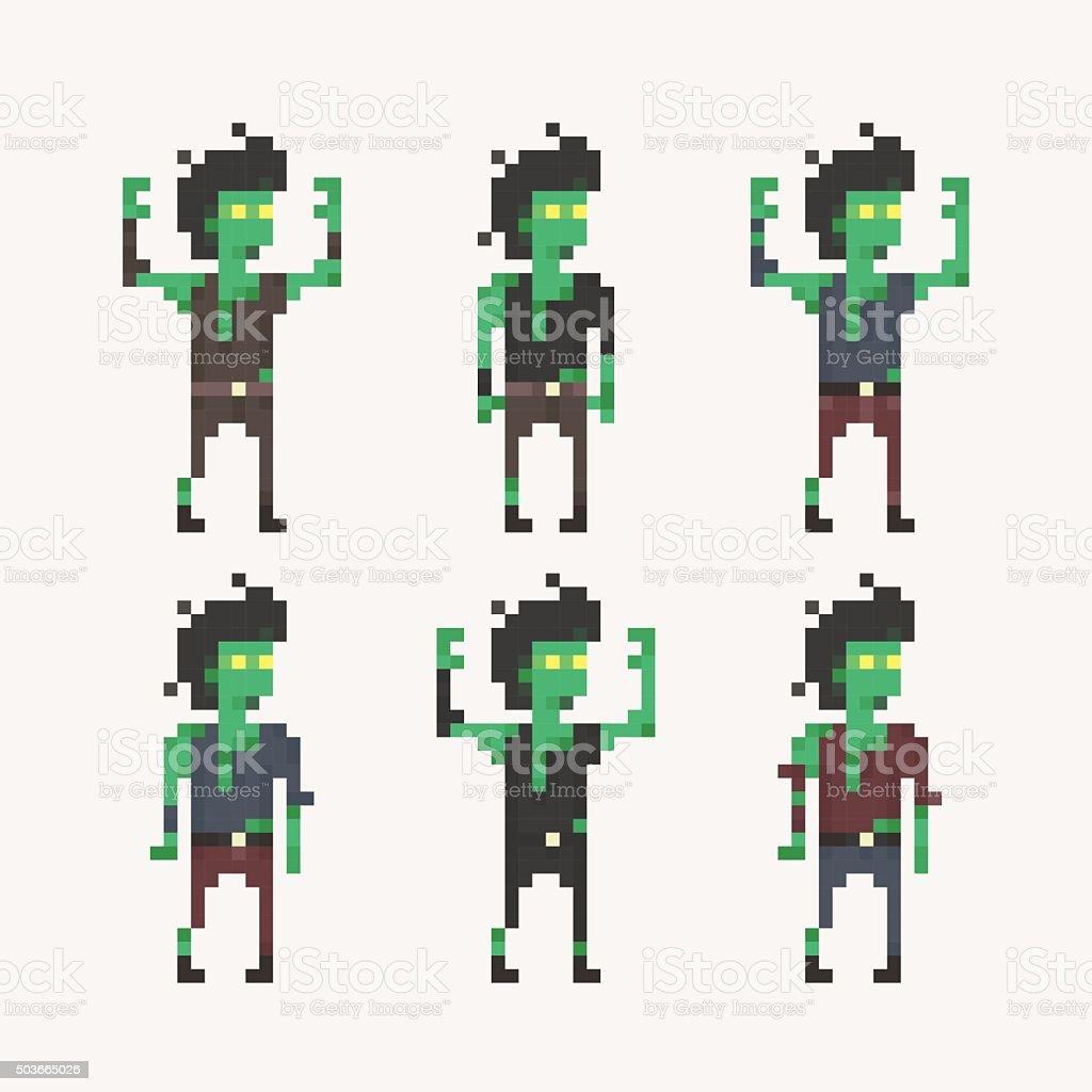Pixel People - Zombie vector art illustration