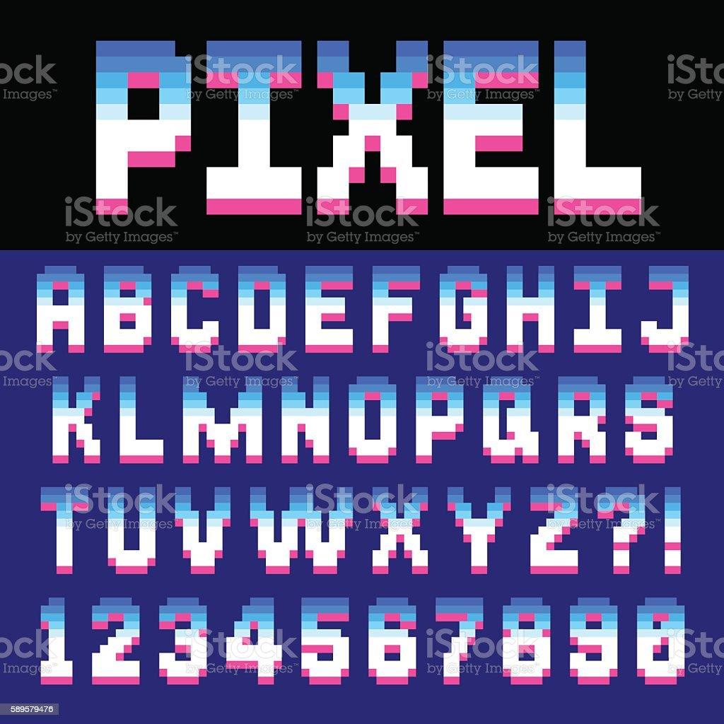 Pixel retro font vector art illustration
