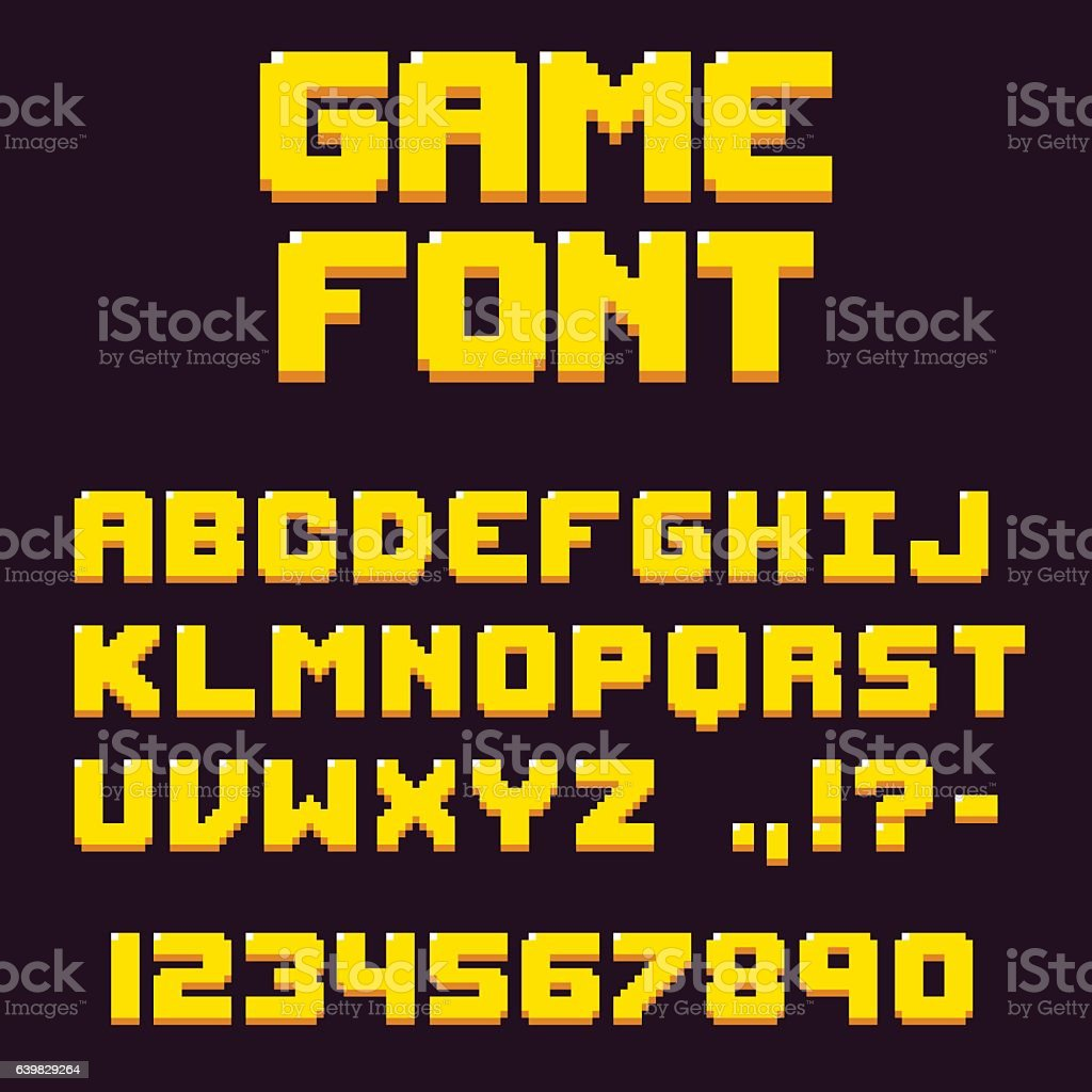 Pixel retro videogame font vector art illustration