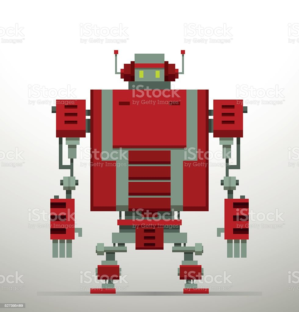 Pixel Robot, red vector art illustration