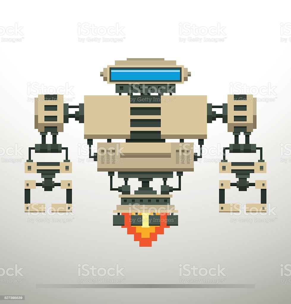 Pixel Robot, white vector art illustration