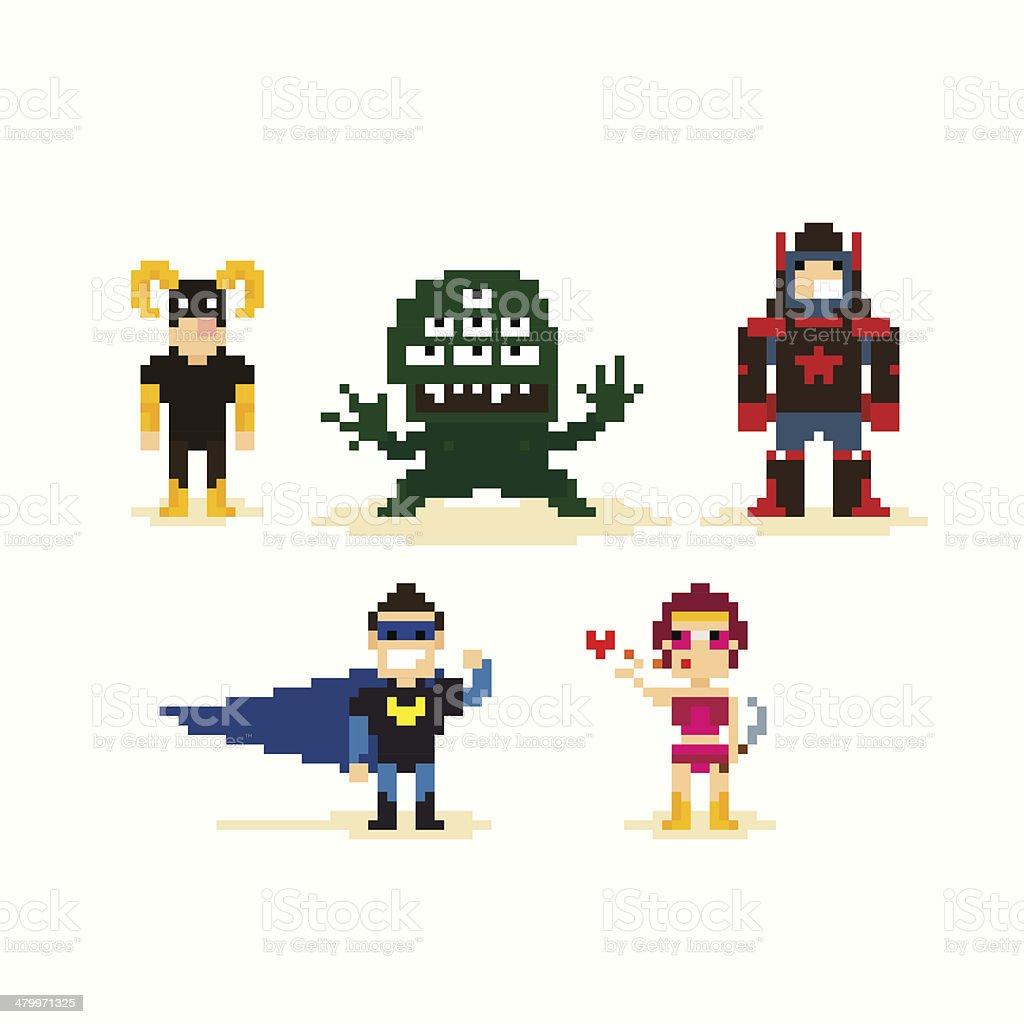 Pixel Superheroes vector art illustration