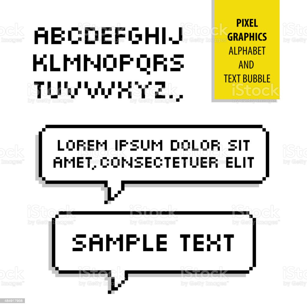Pixel text bubble and Pixel alphabet. Vector graphics vector art illustration