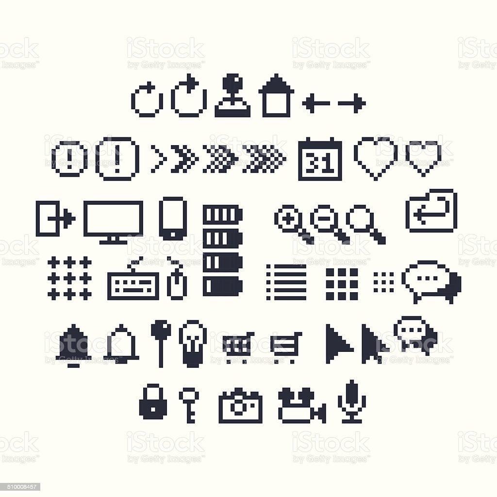 Pixel UI Icons vector art illustration