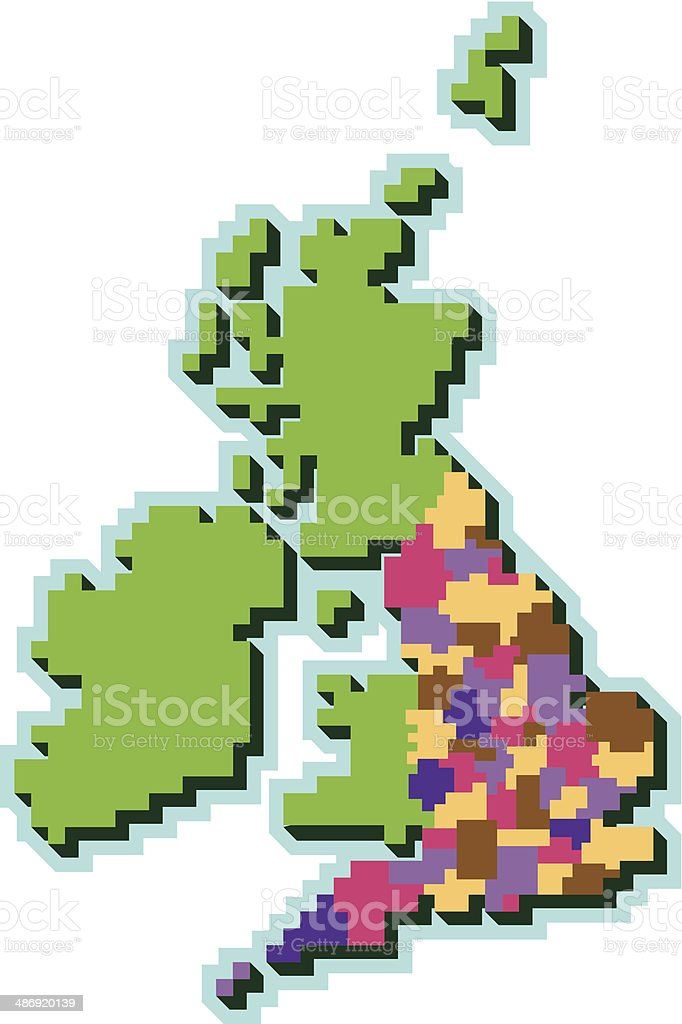 Pixel UK counties map royalty-free stock vector art