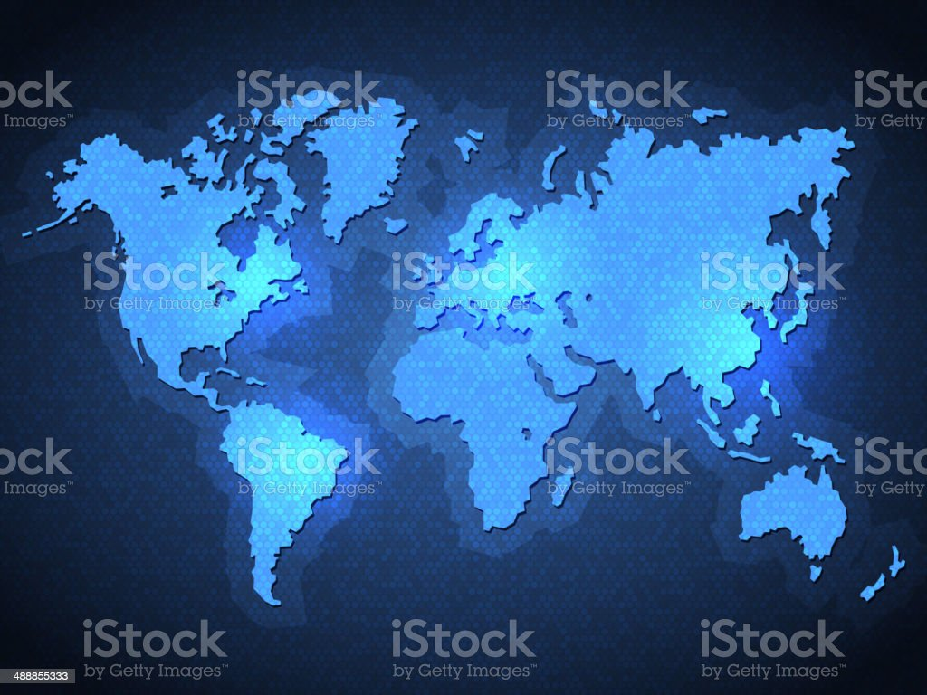 Pixel World Map with Spot Lights royalty-free stock vector art