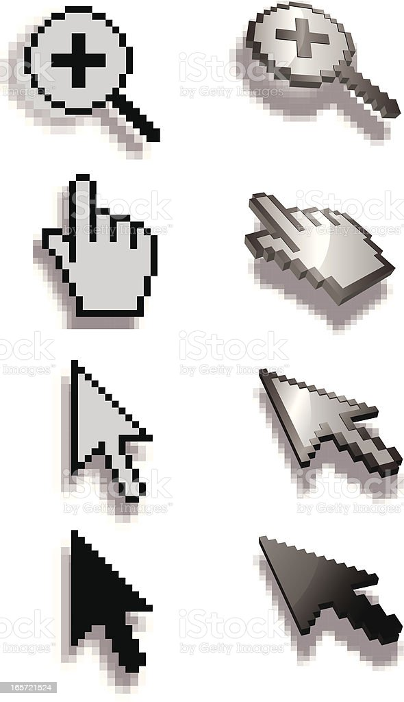 pixelated 3d computer icons royalty-free stock vector art